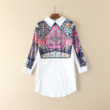 Europe style lapel printing loose blouse 2017 spring pull-over long shirt S-L size