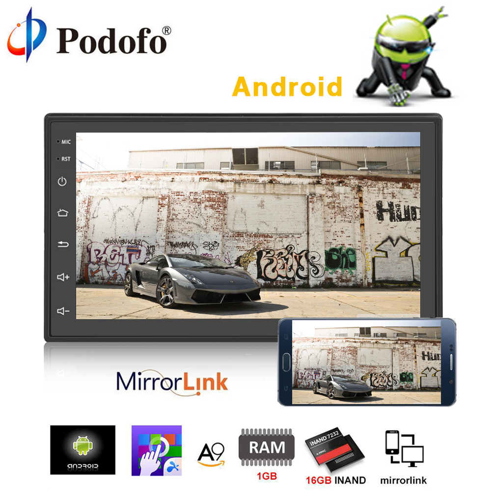 Podofo 2 din Android Car Radio Audio Stereo GPS+Wifi+Bluetooth+FM 7 Touch screen autoradio Car MP5 Player with Rearview Camera 7 touch screen 2 din quad core car radio android 7 1 wifi bluetooth auto mp5 player gps navigator autoradio with reverse camera