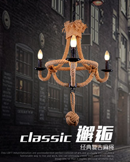 Retro classic iron art pendant lights Ceative handmade hemp rope E14 LED three lamps hang lamp for dining room&parlour CYDD002A