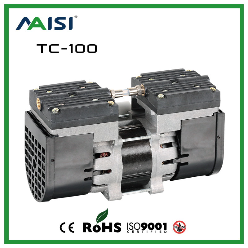 TC-100 110V /220V Double Head Oilless Diaphragm Vacuum Pump 100W 60HZ(AC) 24L/MIN Medical mute pump 3.6 bar electric vacuum pump free shipping 220v ac gz35b 220 70l min vacuum flow diaphragm vacuum pump with 100w power oil free double heads vacuum pump