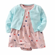 2019 TODDLER GIRL 2 pieces clothing set,newborn girl clothes,cute Long sleeve cardigan+dress rompers for baby cotton 6-24M