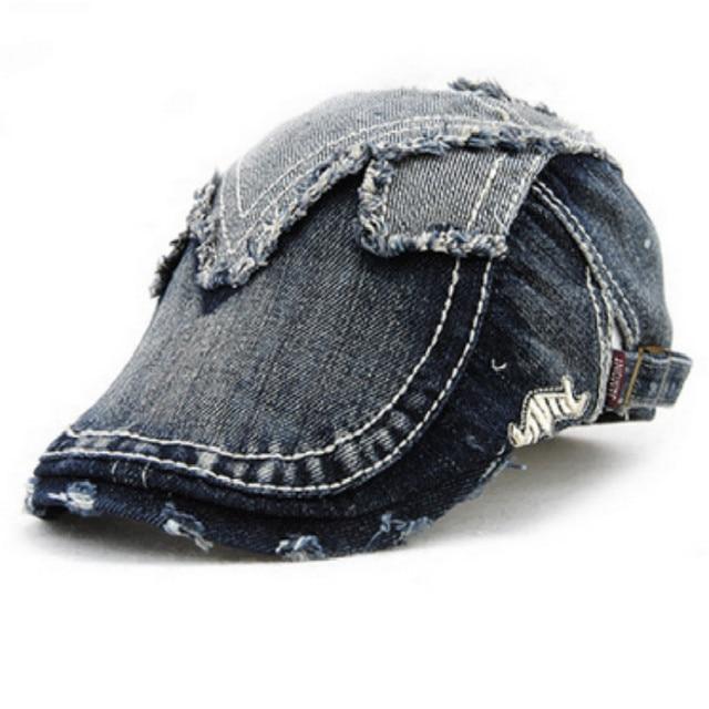 Denim francês boina chapéu feminino masculino engraçado fazer velho  distress vintage chapéu retro osso plano repicado cca72d7bb71