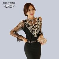 2015 New Spring Mesh Lace Top Female Long Sleeved Sheer Women Blouses Slim Elegant Plus Size