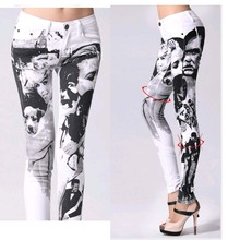 Мода печать джинсы женщина свободного покроя карандаш брюки девушка промытые лицо тощий длинный джинсы женские капри