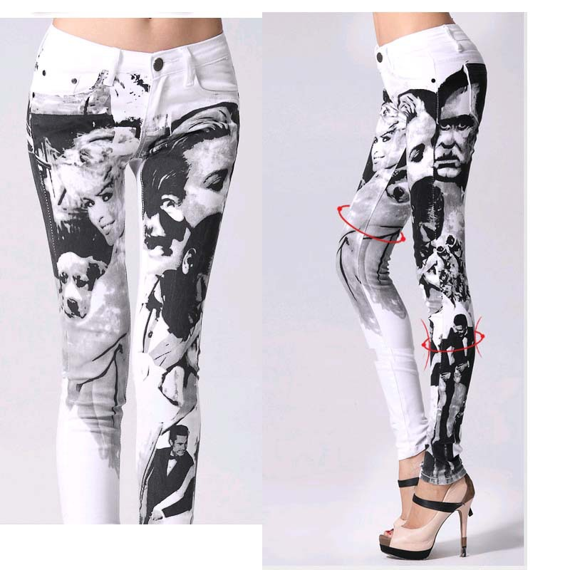 Female Printing   jeans   woman Elastic Pencil pants Girl Zipper Person Pattern Slim   Jeans   Skinny Long women   Jeans   White Capris