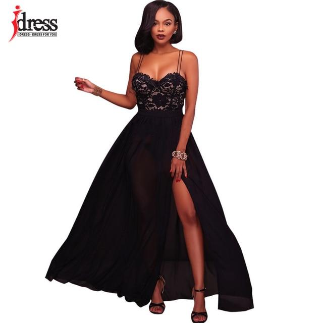 023658b5b246 IDress 2017 Spaghetti Strap Black Lace Dress Women Party Elegant Floral  Lace Chiffon Dress Floor Length