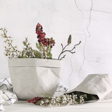 洗えるクラフト紙袋植物花ポット多機能ホーム収納袋再利用 Art 花瓶ポット再利用可能な家の装飾のため