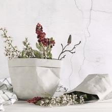 Washable Kraft Paper Bag Plant Flowers Pot Multifunction Home Storage Bag Reuse Art Vase Pot Reusable For Home Decor