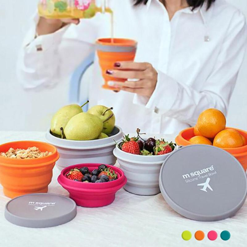 New Food Container Foldable Silicone Bowels Fruit Salad Bowl Outdoor Traveling Camping Tableware For Mixing Noodle Rice S4