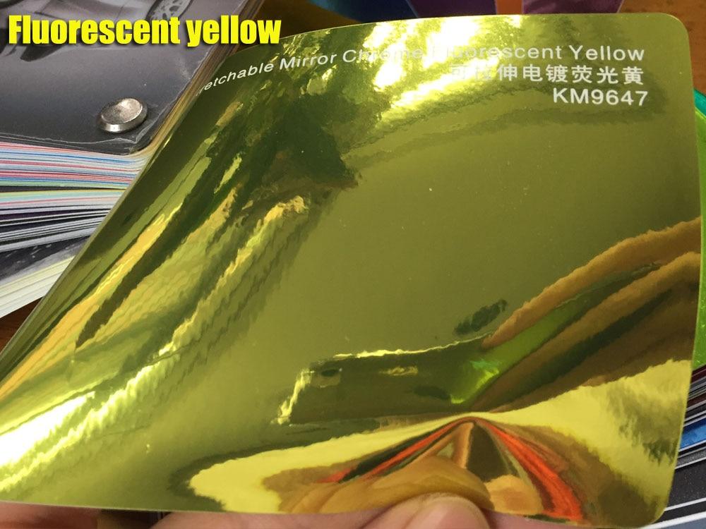 Высокая растягивающаяся Водонепроницаемая УФ-защита темно-синяя Хромовая зеркальная виниловая пленка, рулонная пленка для автомобиля, наклейка, лист - Название цвета: fluorescent yellow