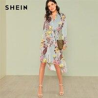 SHEIN Slit Side Mixed Print Dip Hem Shirt Dress 2018 Summer Long Sleeve Stand Collar Belted