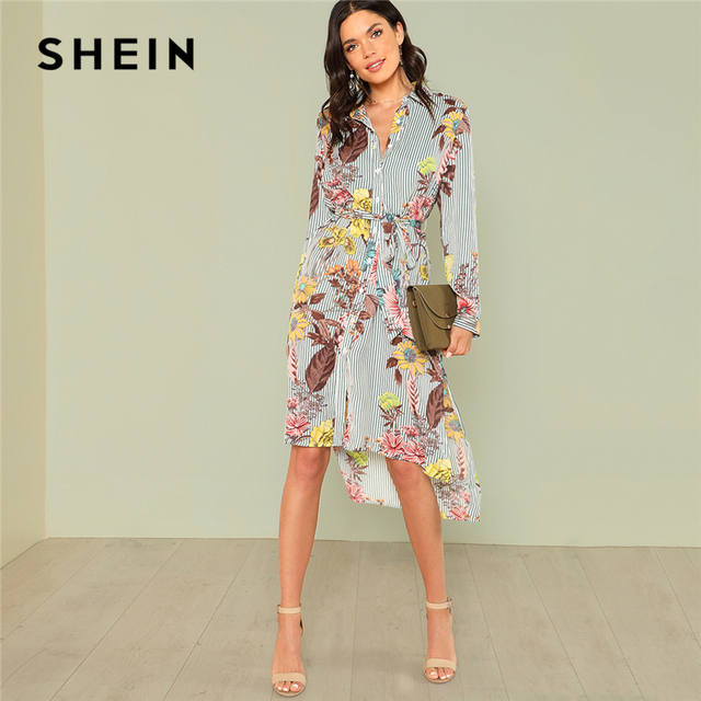 fca6f495ec SHEIN Slit Side Mixed Print Dip Hem Shirt Dress 2018 Summer Long Sleeve  Stand Collar Belted Dress Women Casual Elegant Dress