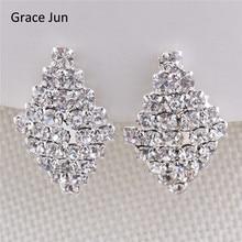 Grace Jun New Design Geometric Style Bridal Rhinestone Clip on Earrings for Women No Hole Ear Clip Fahion Jewelry Accessories