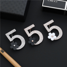 Brand Brooches Letter 5 Full Crystal Rhinestone Brooch Pins For Women Party Flower Number Jewelry 7 Style