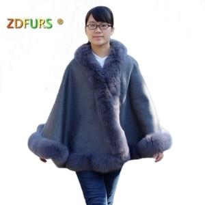 ZDFURS * Genuine Cashmere Shawls Fox Fur Female Free Size Fashion Real Fur Ponchos Women's Capes Luxury Brand Shawls and Scarves