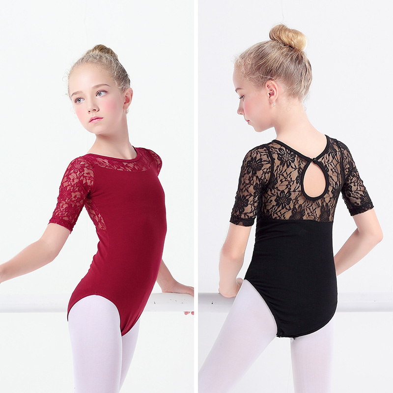Black Lace Ballet Leotards Girls Kids Vest Ballet Clothing Dancewear Children Gymnastics Leotards