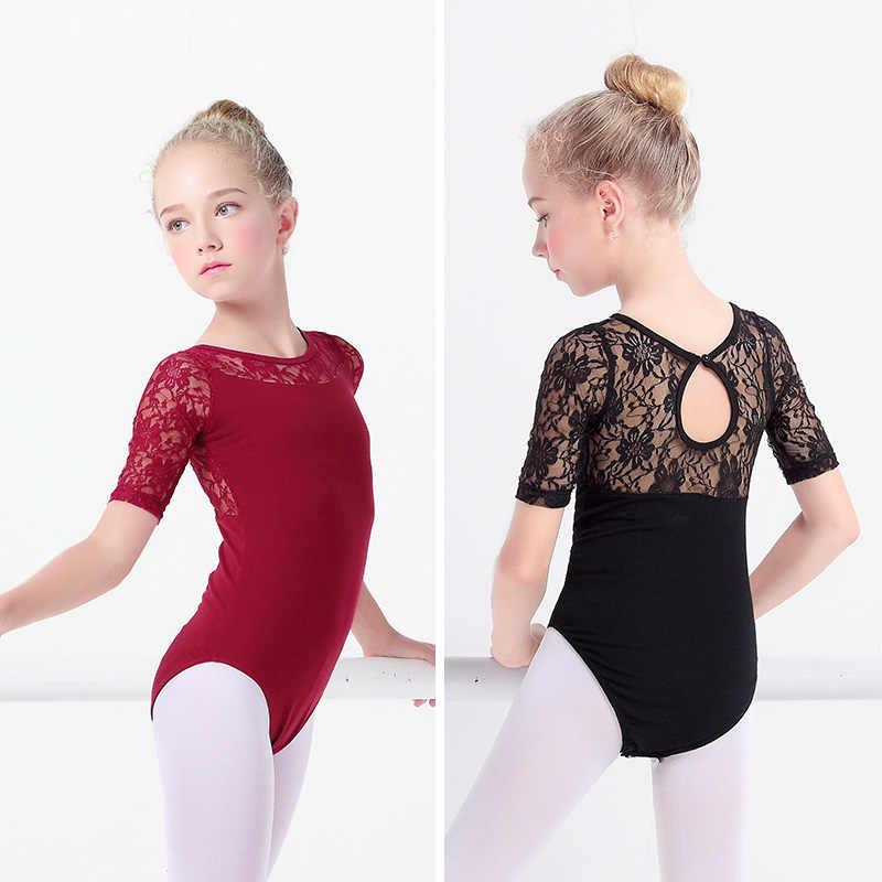 4-15Y Kids Girl Gym Ballet Dance Dress Leotard Lace Floral Bodysuit Dancewear UK
