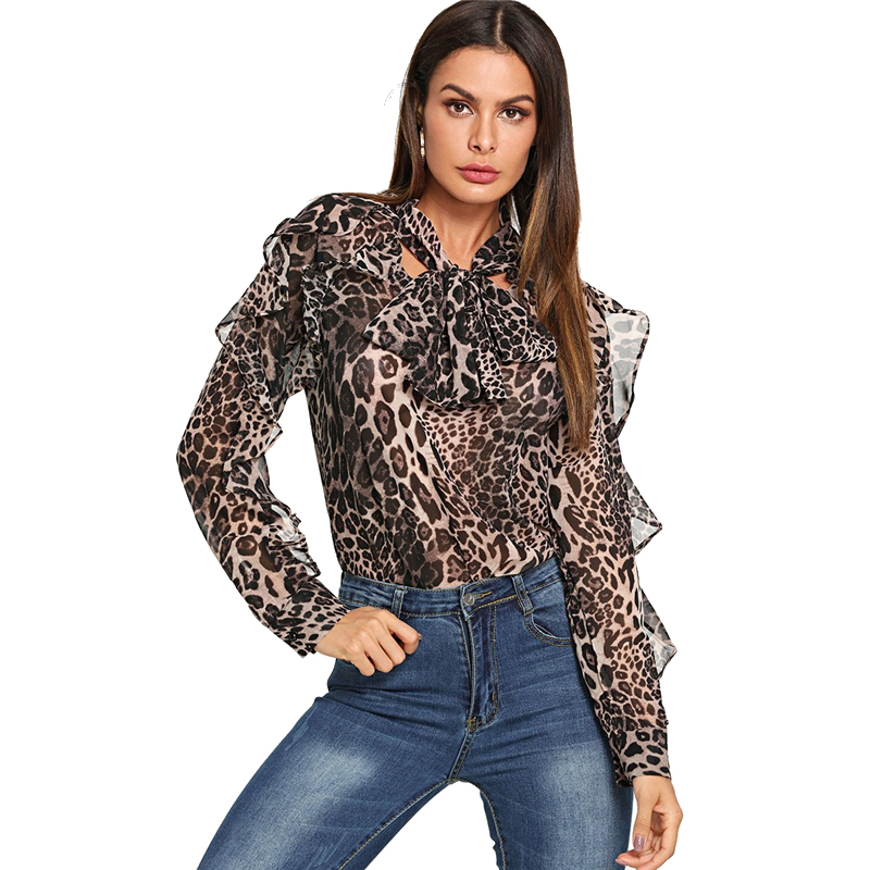 COLROVIE Leopard Elegant Ruffle Trim Knot Women Blouse Shirt 2018 Autumn Streetwear Fashion Ladies Tops And Work Blouses 8