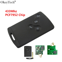 Okeytech High Quality 433Mhz PCF7952 Chip 4 Button Remote Key Smart Card Car Key For Renault