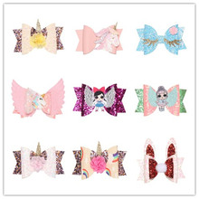 New Boutique Candy Color Bow cartoon Hair Clip  Unicorn Hairgrips Accessories Girls clips kids princess hairpins barrettes