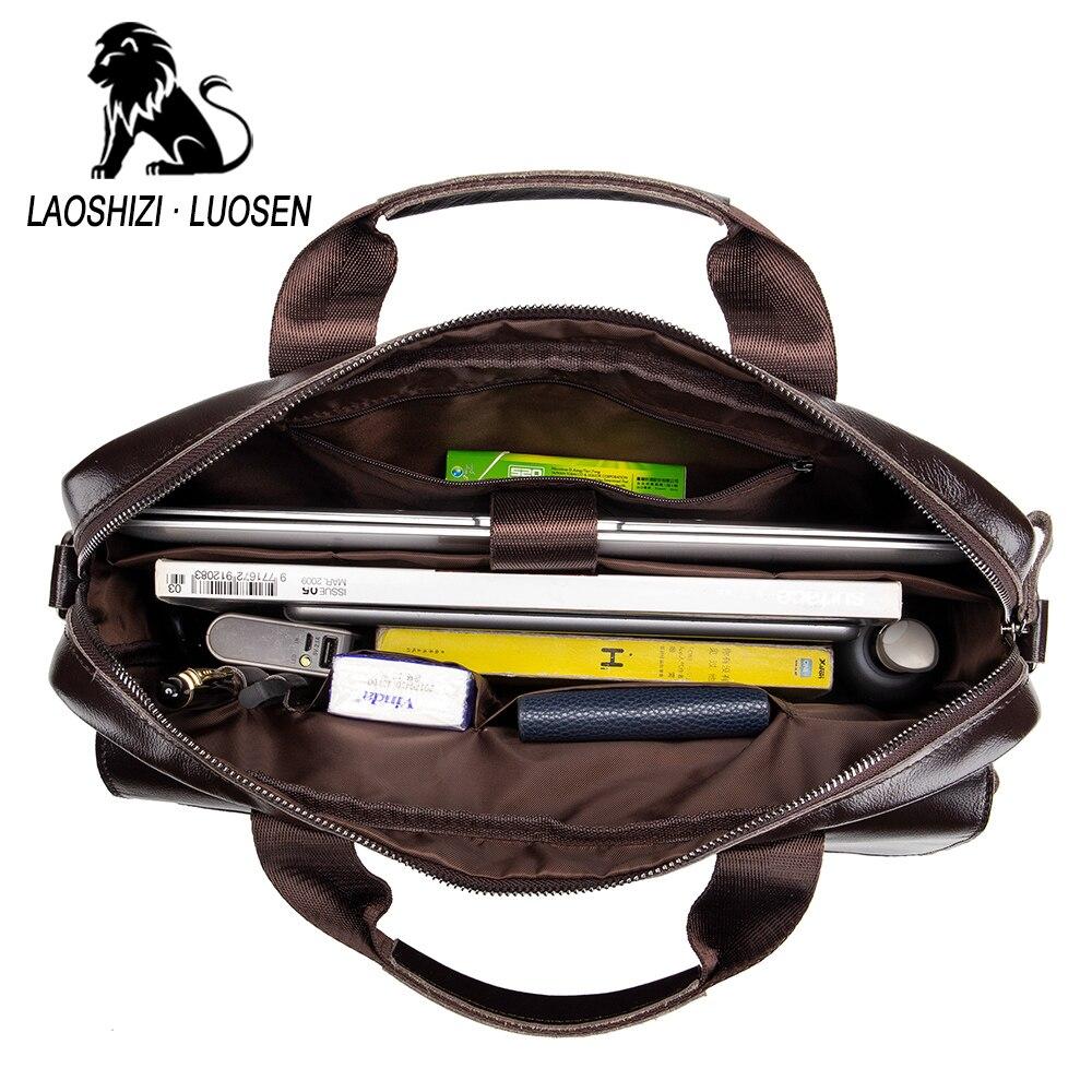 Image 3 - Business Messenger Bag Genuine Leather Men Shoulder Bag Vintage Male Casual Totes Handbag Cowhide Crossbody Bag Men-in Crossbody Bags from Luggage & Bags