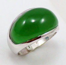 ESTATE FINE Tibet Solid silver Natural green jadeite Jewelry ring size: 9 10 11