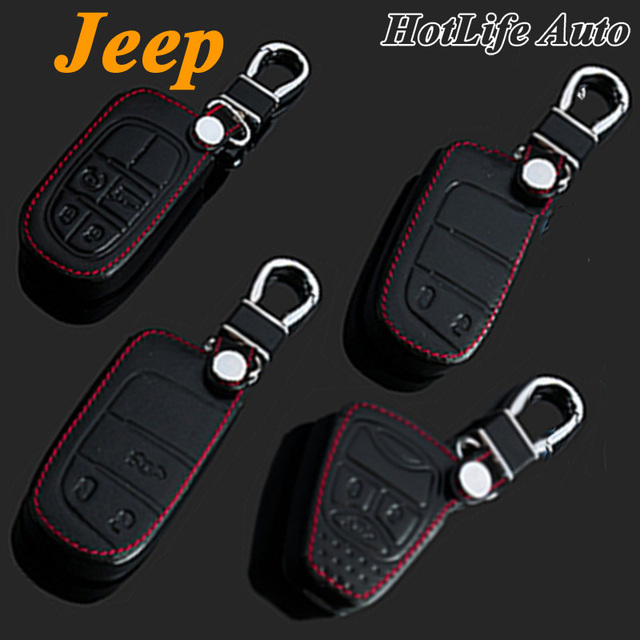 100% Genuine Leather Car Keychain Key Case Cover for Wrangler Cherokee Grand Cherokee Compass Patriot Smart Car Key Chain Rings