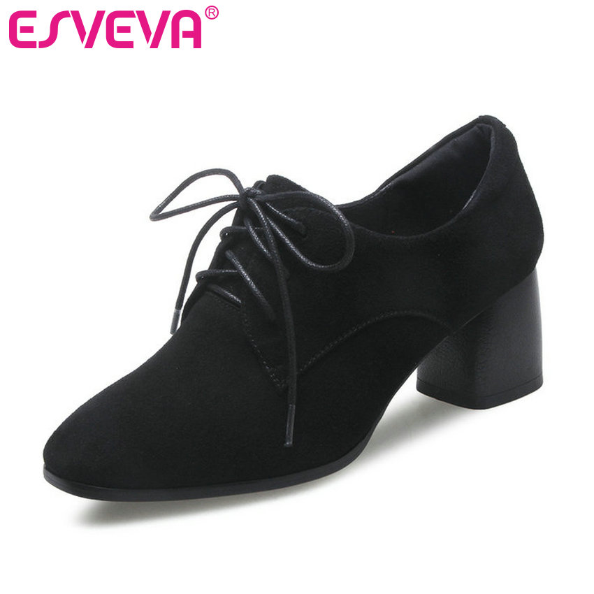 ESVEVA 2018 Women Pumps British Style Genuine Leather +PU Women Shoes Spring Autumn Square High Heel Lace Up Pumps Size 34-42 esveva 2017 new pointed toe pu women pumps lace up british style fashion shoes women spring square high heel pumps size 34 39