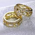 As Mulheres agradáveis Anéis Da Forma 2 PCS Set AAA Cubic Zirconia Banhado A Ouro Romântico Partido Jóias Para O Amante de Bronze de Metal Chumbo livre