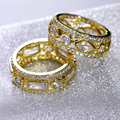 Nice Women Fashion Rings 2PCS Set AAA Cubic Zirconia  Gold Plated Romantic Party Jewelry For Lover Brass Metal Lead Free