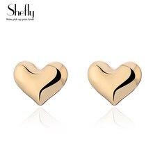 54eeb3402a Oro-color lindo pequeño corazón aretes para las mujeres pendientes de amor  con letras en inglés bien joyería de regalo para mejo.