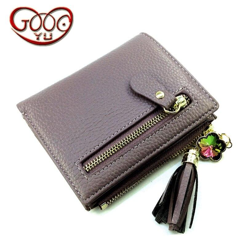 Korean first layer of leather ladies mini zipper short wallet multi-card bit leather tassels f purse