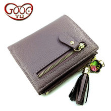 Korean first layer of leather ladies mini zipper short wallet multi-card bit leather tassels f purse(China)