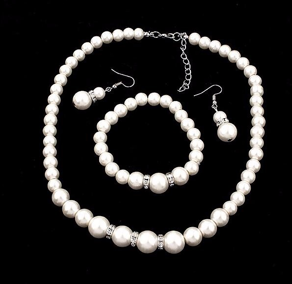 2016 Fashion Classic Imitation Pearl Silver Plated Clear Crystal Top Elegant Party Gift Fashion Costume Pearl Jewelry Sets N85 3