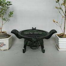 Free shipping Hot Sales New Chinese Antique Bronze Art Decor Dragon phoenix Pattern Lucky Cornucopia Basin Home Decoration