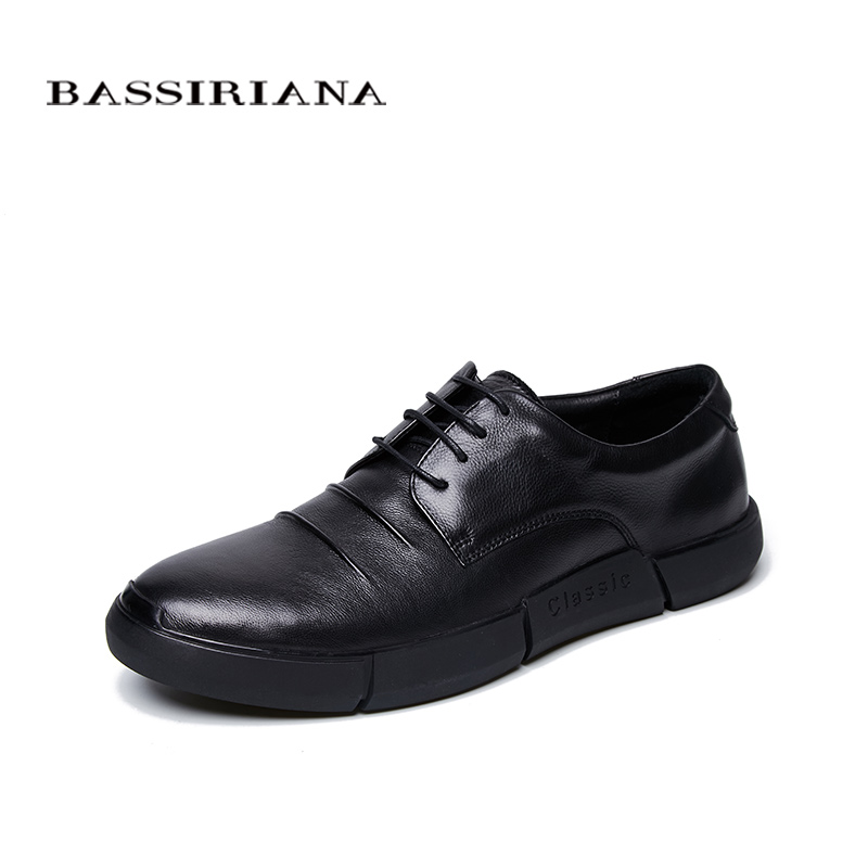 2018 New Men s Casual Shoes Pure Leather Lace Black Size39 45 Free Shipping