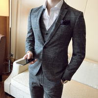 2018 Spring And Summer New Slim Gentleman Retro Fabric Suit Three piece Men's Business Fashion Casual Temperament British Style