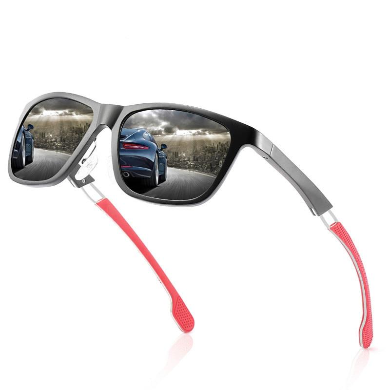 Ellen Buty Vintage Sunglasses Men Polarized Square Black Aluminium Magnesium Alloy Male Sun Glasses uv Driver