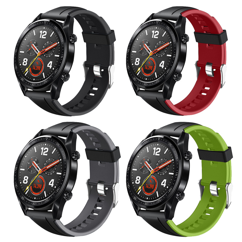 Double Color Silicone Wrist Strap For Huawei Watch GT Band Sport Strap For Honor Watch Magic/For Amazift Pace/Stratos 2 2s