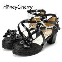 Japanse lolita sandle schoenen Nieuwe Ronde Hoofd Ruw Met Diamant, pailletten Boog Knoop, Damesschoenen, Lolita Zachte hoge hak Schoenen