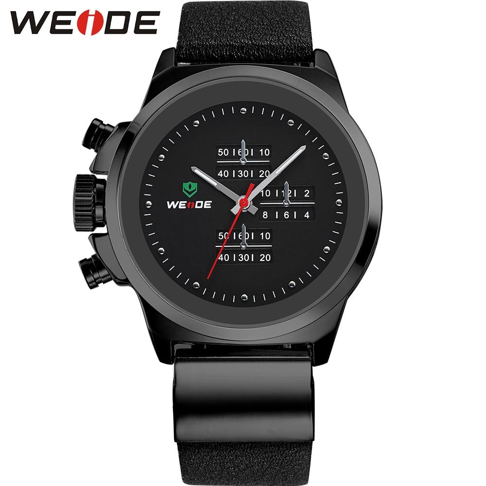 ФОТО WEIDE Brand Popular Men Watches Fashion Analog Quartz Sports Watch Waterproof Black Dial Clock Leather Strap Relogio Masculino