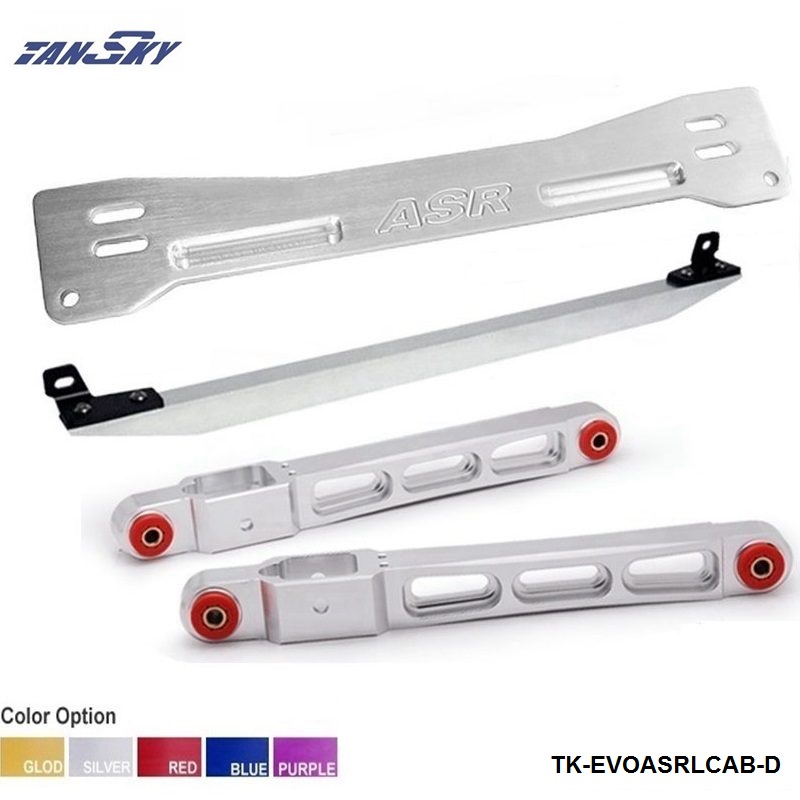 Rear Lower Control Arm Subframe Brace Tie Bar silver For 1997-2001 Mitsubishi Mirage TK-EVOASRLCAB-D kingsun rear adjustable ball joint camber control suspension arm kit for 1990 1997 honda accord acura cl tl1996 1999 blue