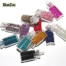 BlueZoo 12 Color Tiny Circle Bead Decoration Round 3D Nail Decoration Beads Caviar Bottle Set Nail