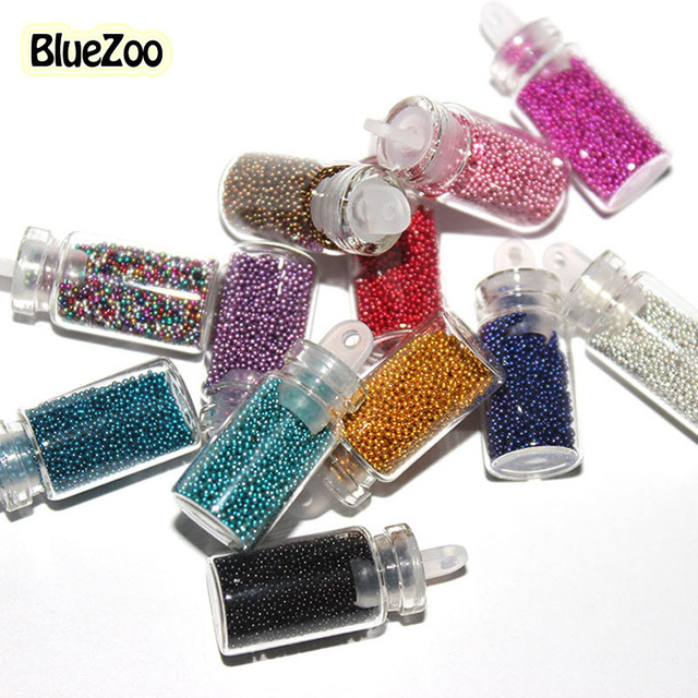 BlueZoo 12 Color Tiny Circle Bead Decoration Round 3D Nail Decoration Beads Caviar Bottle Set Nail Art Accesseries For Beauty
