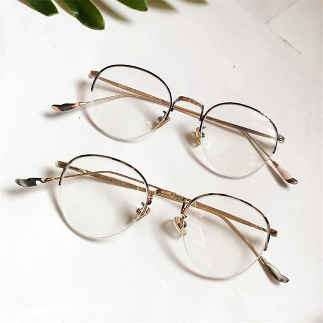 62054c8360c Vazrobe Round Glasses Men Women Small Eyeglasses Frames Man Female Semi  Rimless Vintage Prescription Spectacles Brand
