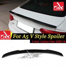 For Audi A5 Carbon Fiber Rear Spoiler Wing V Style Coupe Trunk 2-Doors car styling 2009-2016