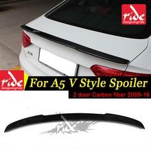 цена на For Audi A5 Carbon Fiber Rear Spoiler Wing V Style Coupe Carbon Fiber Rear Spoiler Rear Trunk Wing 2-Doors car styling 2009-2016