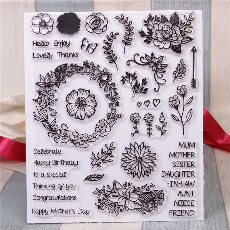 все цены на Rubber Silicone Clear Stamps for Scrapbooking Tampons Transparents Seal Background Stamp Card Making Diy large flower Stempel
