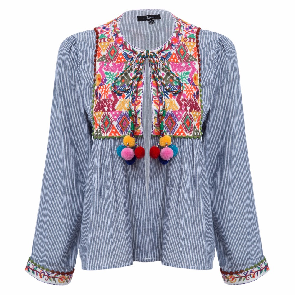 AZULINA Vintage Floral Embroidery Blouse Blusas Women Long Sleeve Blue Striped Spring Summer Cotton Linen ethnic blouse top 2017 4