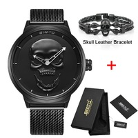 Brand New Style 3D Skull Men Watch Gift Leather Steel Or Mesh Waterproof Clock Casual Military
